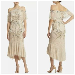 NEW AIDAN MATTOX Champagne Nude Sequined Beaded Embellished Cold Shoulder Gown